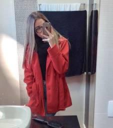 Casaco lã batida vermelho