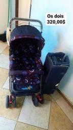 1 carrinho e 1 cercadinho de bebê semifinal novos