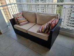 Conjunto varanda sofá + poltrona + mesa centro