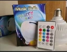 Lâmpada de led caixinha de som com controle