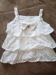Blusa Renda Alcinha Branca - 10 anos