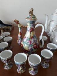 Conjunto de café ou suco em porcelana chinesa
