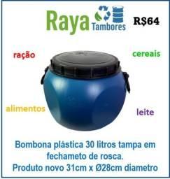 Bombona plástica tampa e rosca com alça produto novo para armazenagem geral