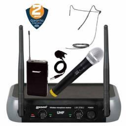 Título do anúncio: Microfone Sem Fio Uhf Duplo Lexsen Headset / Lapela E Bastão | Produto Novo - Loja Física