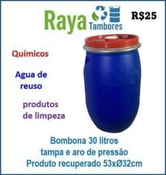 Bombona plástica recuperada para indústria e comercio com tampa nova e lacre