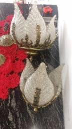 Lustre antigo bronze e folhas de vidro