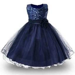 Vestido azul Infantil De Festa Casamento