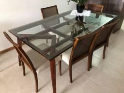 Mesa e Cadeiras de Jantar Design Premium - 6 lugares - em Madeira de Canela