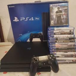 PS4 PRO 1TB COM 15 JOGOS, 2 controles.