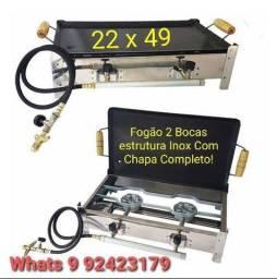 Título do anúncio: Fogão Chapeira 2 Bocas Inox Reforçado Completo * Produto Novo *