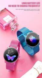 Smartwatch JrbL Butterfly 2021 na cor Rosa! Lindo! Pulseira milanese na cor rosa também!