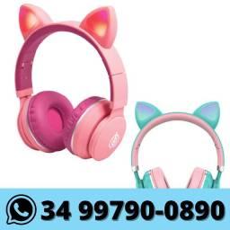 Fone Bluetooth Orelha De Gato com Led