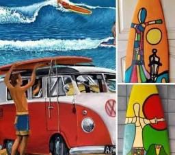 Pranchas surf  decorativo  varanda casa de praia e Fusca