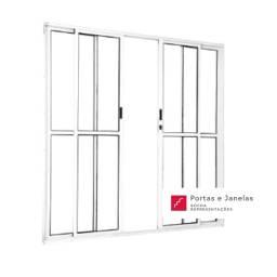 Título do anúncio: Porta Balcão de Correr Sacada Brilhante em Alumínio 4 Folhas - L25 - 210 x 200