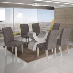 Conjunto Sala de Jantar Mesa Tampo Vidro 160cm 6 Cadeiras