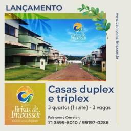 Casas Duplex, 3/4 com 1 suíte 89m² e 3 vagas - Brisas de Imbassaí