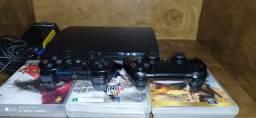Título do anúncio: TORRO PS3 160GB +1controle ps3+1controle ps4+10 jogos+jogos baixados