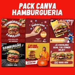 Título do anúncio: Pack hamburgueria de 6 artes editáveis no canva