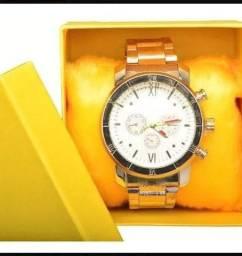 Relógio Masculino Aço + Caixa Luxo
