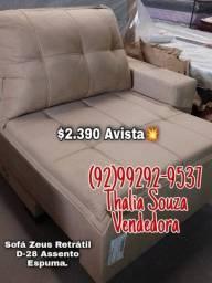 Título do anúncio: }{ Sofá Zeus Luxo Retrátil 2,40cm Largura, Espuma D26//frete grátis Manaus