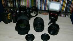 Câmera Profissional Nikon D7000 Com 3 lentes + Flash SB-700