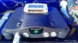 Nintendo 64 com fonte + Cabo AV + Jogo Original Super Star soccer 64