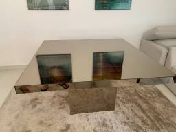 Mesa quadrada em espelho bronze