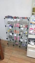 Móveis de loja, estante de vidro e estante de ferro com 2 gavetões