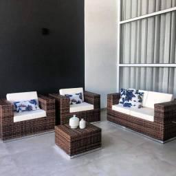 Título do anúncio: Conjunto de sofá quadrado monalisa em fibra sintética