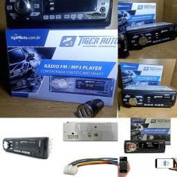 Toca Cd Autotomivo Tiger Auto + Adap. Carregador de Celular para Carro