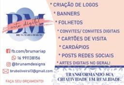 Criação de arte para logos, redes sociais, cardápios, etc