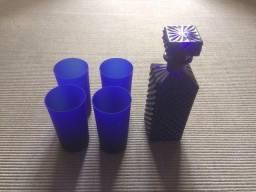 Garrafa para Wisky com copos( cristal)