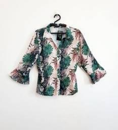 Camisa feminina manga 3/4 godê