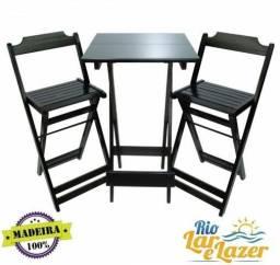mesa madeira estilo bistro com 2 cadeiras