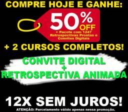 Curso online de retrospectiva animada convite digital + bonus