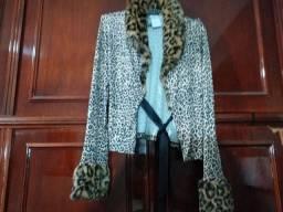 Casaquinho de seda de onça, tamanho M