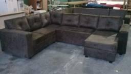 Sofa doreto d canto cm cheise almofadas grandes mas um lindo puff