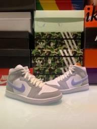 Título do anúncio: Nike Air Jordan 1 Mid Wolf Grey