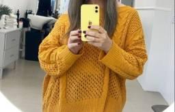 Título do anúncio: Blusa de tricot amarela ombro caido G