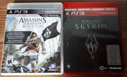 Jogos PS3 mídia física - The Elder Scrolls V Skyrim e Assassin's Creed Black Flag