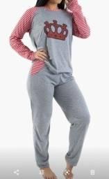 Pijama cinza (detalhes em rosa ou vermelho) feminino adulto tam G R$46,90