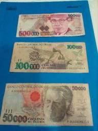 Vendo as 3 Cedulas por 50,00reais de 500, 100 e 50 Mil Cruzeiros