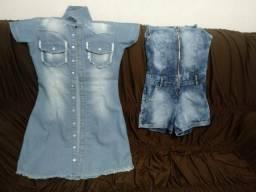 Macaquinho e vestido jeans comprar usado  Valparaíso De Goiás