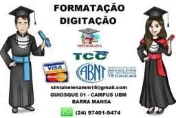 Formatação e Digitação de TCC, Monografia, Tese de Mestrado e etc.