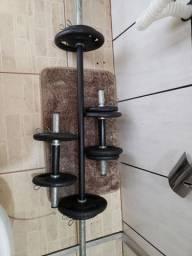 Kit 10 anilhas 30kg + barras de musculação