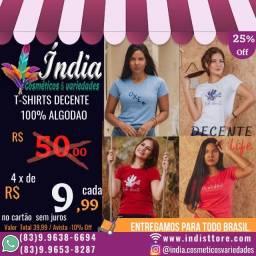 T-shirts fermina marca decente life - 100% algodão