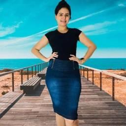 Título do anúncio: Saias jeans midi com lycra kit com 5 peças entrega grátis