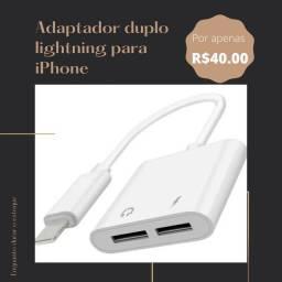 Adaptador duplo lightning para iPhone