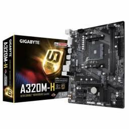 Placa Mãe Gigabyte AM4 GA-A320M-H, USB 3.1 /M.2/ Saídas de Vídeo DVI e HDMI