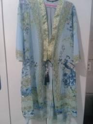Título do anúncio: Robe Estampado em Seda Botânica TAM. G
